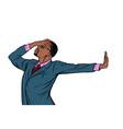 african american businessman shame denial gesture vector image vector image