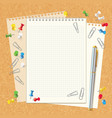 blank spiral notebook on cork board vector image