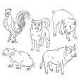 bull cock dog pig rat vector image vector image