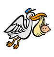 cartoon flying stork bird delivering a baby vector image vector image