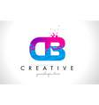 cb c b letter logo with shattered broken blue vector image vector image