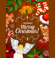 christmas holiday banner of xmas frame on wood vector image vector image