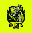 colorful emblem logo badge of a knight riding vector image vector image