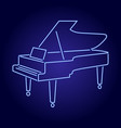 contour grand piano from blue neon glowing lines vector image vector image