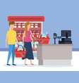 couple in supermarket refrigerator with sale point vector image