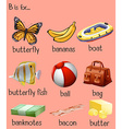 Different words for alphabet B vector image vector image