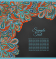 doodle floral ethnic card red and marine for vector image vector image