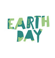 Earth Day Logo 22 April text Grunge texture in vector image