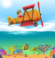 Girl flying airplane over the ocean vector image vector image