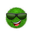 green grass field 3d face wink smile with vector image vector image