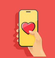 hand holding smartphone and send heart vector image vector image