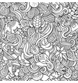 india culture hand drawn doodles seamless pattern vector image vector image