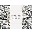 italian desserts pastries cookies menu with hand vector image vector image