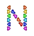 Letter N made of multicolored hearts vector image vector image