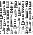 lighthouses in seamless pattern monochrome vector image