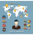 Logistic Manager Infographics vector image vector image