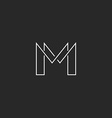 M letter thin line monogram logo modern design for vector image