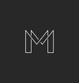 m letter thin line monogram logo modern design vector image vector image