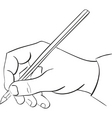mans hand holds a pencil vector image