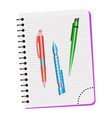 notebook and three pens vector image