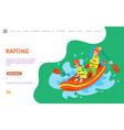 rafting summer water sports people in team vector image