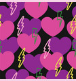 romantic pattern with hearts and lightning vector image vector image