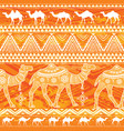 seamless pattern with camels and ethnic motifs vector image