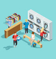 self service laundry facility isometric poster vector image vector image