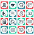 set of 16 school icons includes academy document vector image vector image