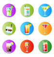 set of nine tropical cocktails rounded image vector image vector image