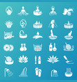 spa and beauty icons set on turquoise background vector image vector image