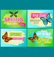 spring big sale 50 off labels set with butterflies vector image