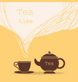 time for teacup of tea and teapot for text vector image vector image