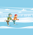 two kids skate on the ice vector image
