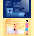 waking up child kid sitting on bed in bedroom vector image vector image
