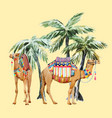 watercolor camel and palm composition vector image vector image