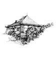 Watermill hand drawn artistic vector image vector image