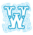 winter vintage letter W vector image