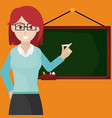 Woman teacher with blackboard