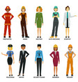 women working in hard job set vector image