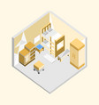 yellow bedroom isometric home interior design vector image vector image