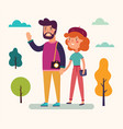 young couple on a walk vector image vector image