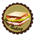 A best bakery label with a sandwich vector image vector image