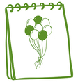 A notebook with a drawing of balloons at the cover vector | Price: 1 Credit (USD $1)