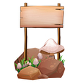 An empty wooden signage near the rocks and vector image vector image