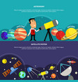 astronomy banners set vector image vector image