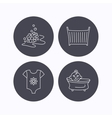 Baby clothes bath and crib icons vector image vector image