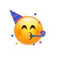 birthday party emoji celebrate emoticon happy vector image vector image