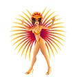 Brazilian carnival girl isolated on white vector image