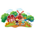 children at farm scene vector image vector image